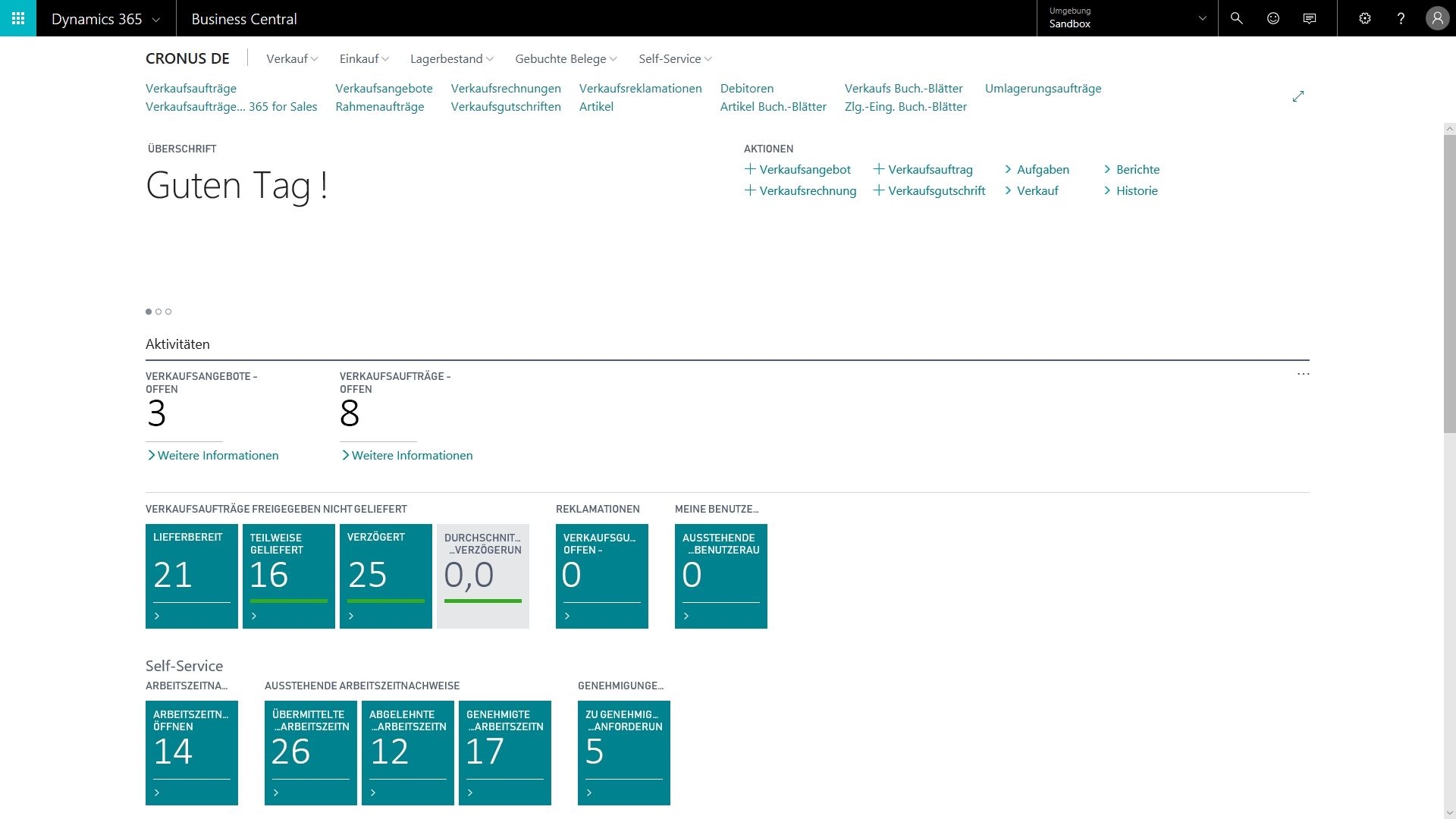 Screenshot: Microsoft Dynamics 365 Business Central Benutzeroberfläche
